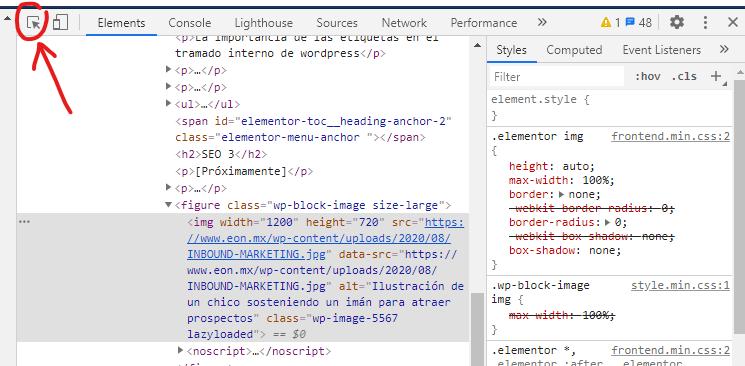 Inspeccionando el código para inspeccionar el SEO en las imágenes